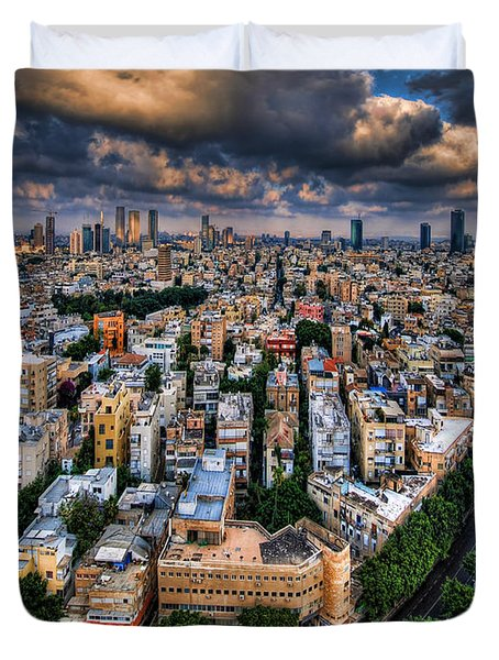 Duvet Cover featuring the photograph Tel Aviv Lookout by Ron Shoshani