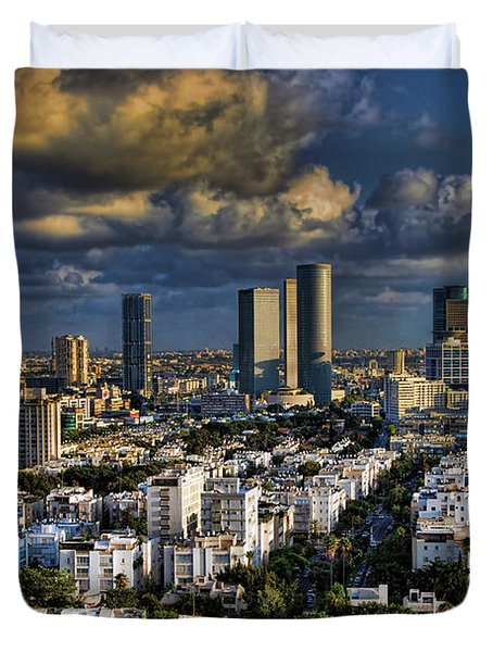 Duvet Cover featuring the photograph Tel Aviv Skyline Fascination by Ron Shoshani