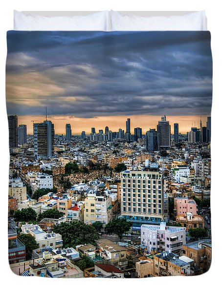 Duvet Cover featuring the photograph Tel Aviv Skyline Winter Time by Ron Shoshani