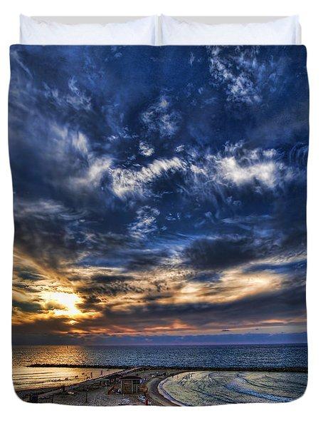 Duvet Cover featuring the photograph Tel Aviv Sunset At Hilton Beach by Ron Shoshani