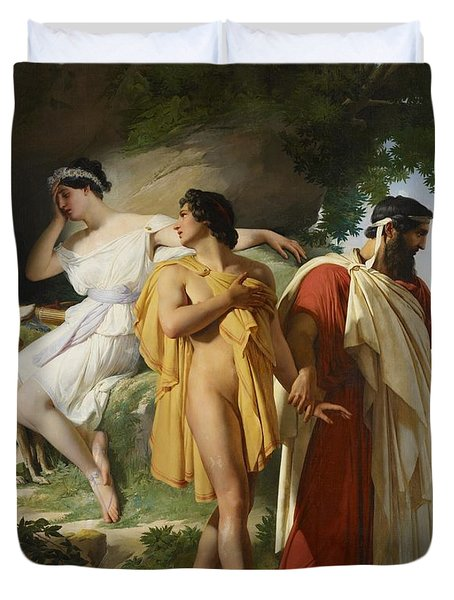Telemachus And Eucharis Duvet Cover by Raymond Quinsac Monvoisin