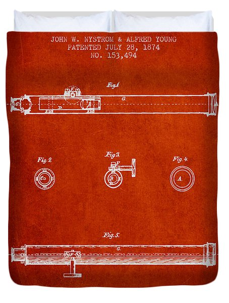 Telescope Patent From 1874 - Red Duvet Cover