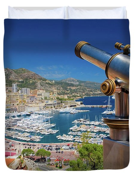 Telescope With View Of Monte-carlo Duvet Cover