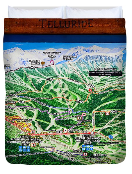 Telluride Ski Map Detail  Duvet Cover