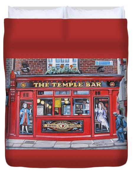 Duvet Cover featuring the painting Temple Bar Dublin Ireland by Melinda Saminski