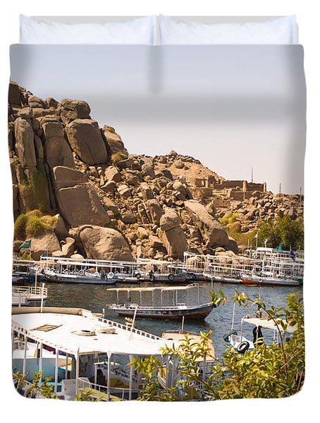 Temple Boat Dock Duvet Cover