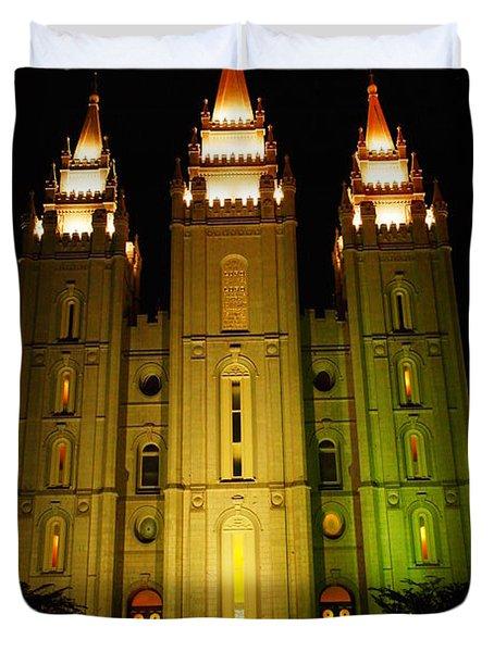 Temple In Salt Lake City Duvet Cover by Jeff Swan