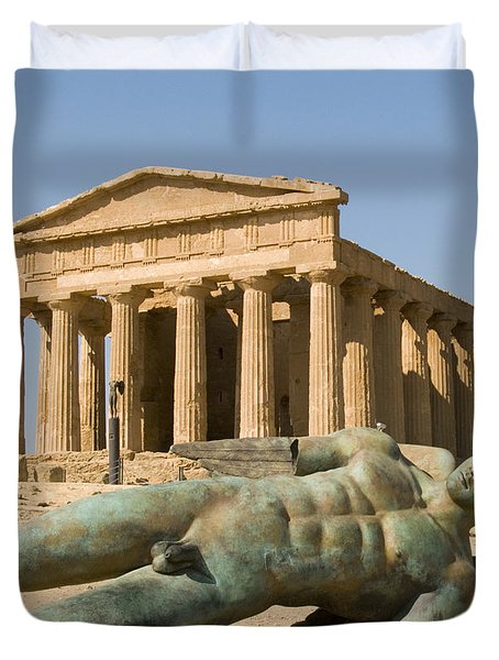 Temple Of Concord And Icarus Fallen Duvet Cover by Rachel Down