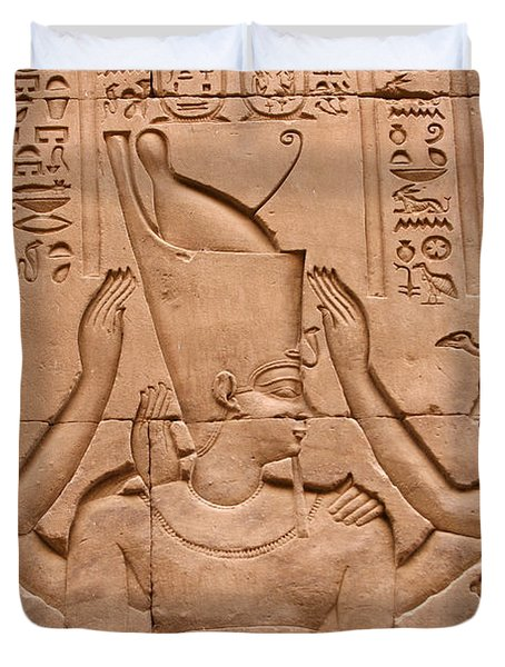Temple Of Horus Relief Duvet Cover by Stephen & Donna O'Meara