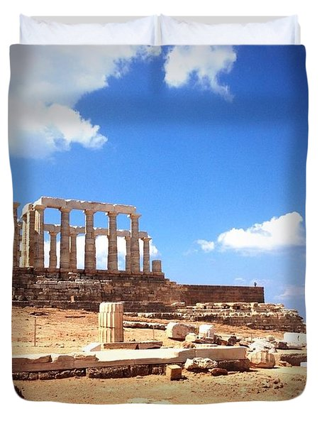Temple Of Poseidon Vignette Duvet Cover