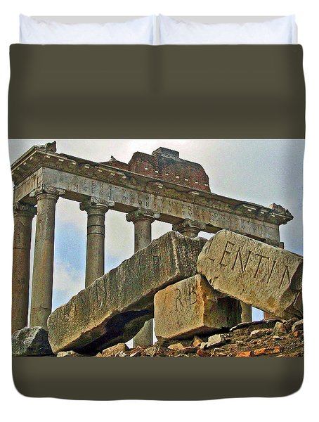 Temple Of Saturn In The Roman Forum Duvet Cover