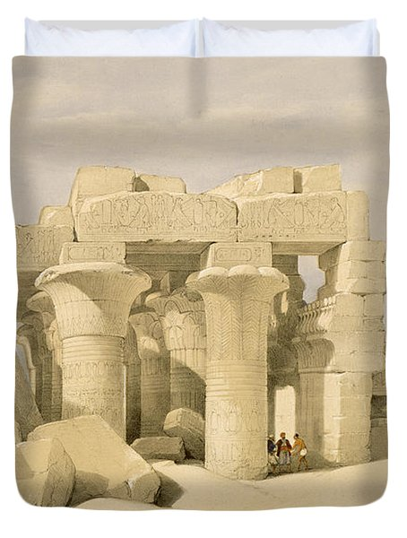 Temple Of Sobek And Haroeris At Kom Ombo Duvet Cover by David Roberts