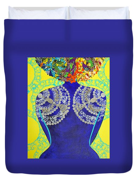 Duvet Cover featuring the tapestry - textile Temple Of The Goddess Eye Vol 3 by Apanaki Temitayo M