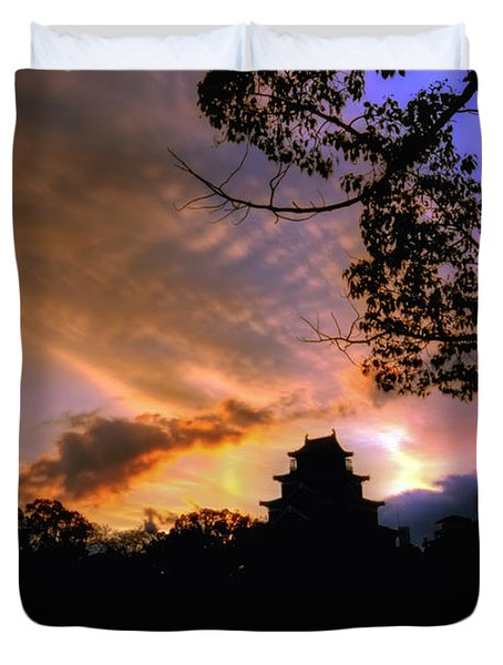 A Temple Sunset Japan Duvet Cover
