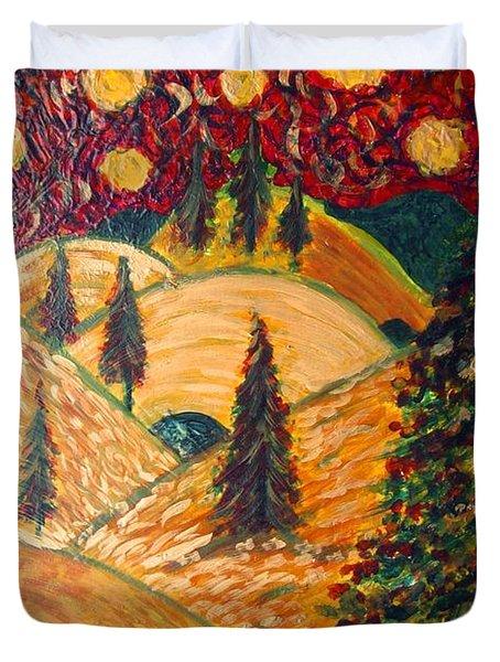 Ten Moons In Scarlet Sky Duvet Cover