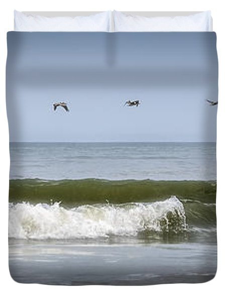 Duvet Cover featuring the photograph Ten Pelicans by Steven Sparks