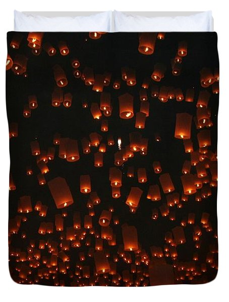 Ten Thousand Lantern Launch Duvet Cover by Nola Lee Kelsey