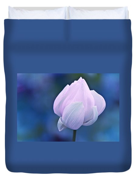 Tender Morning With Lotus Duvet Cover