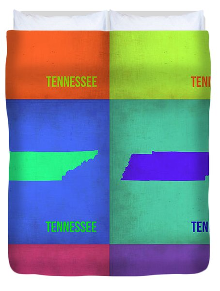 Tennessee Pop Art Map 1 Duvet Cover by Naxart Studio