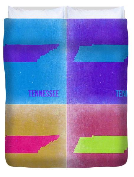 Tennessee Pop Art Map 2 Duvet Cover by Naxart Studio