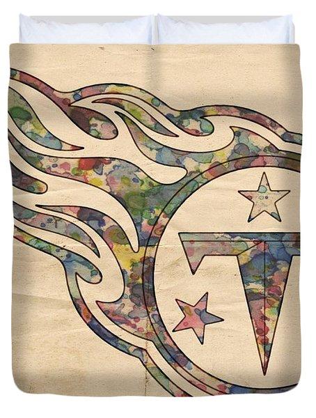 Tennessee Titans Poster Art Duvet Cover by Florian Rodarte