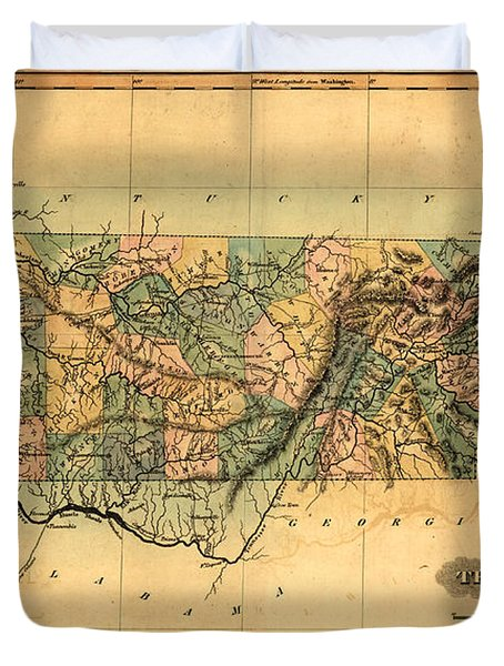 Tennessee Vintage Antique Map Duvet Cover by World Art Prints And Designs