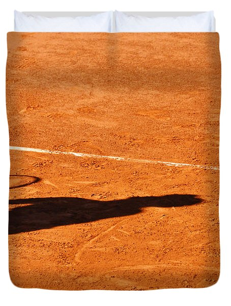 Tennis Player Shadow On A Clay Tennis Court Duvet Cover