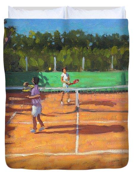 Tennis Practice Duvet Cover by Andrew Macara
