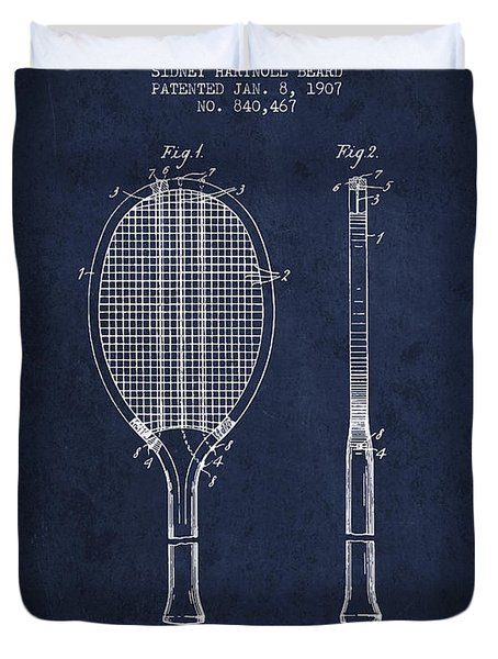 Tennis Racket Patent From 1907 - Navy Blue Duvet Cover by Aged Pixel