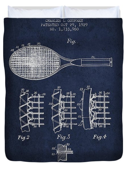 Tennnis Racket Patent Drawing From 1929 Duvet Cover by Aged Pixel