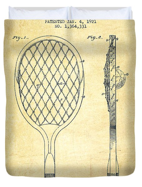 Tennnis Racketl Patent Drawing From 1921 - Vintage Duvet Cover by Aged Pixel