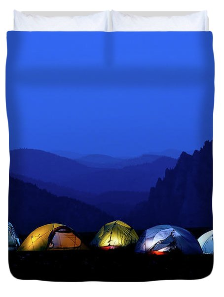 Tents Illuminated Near Mountains Duvet Cover