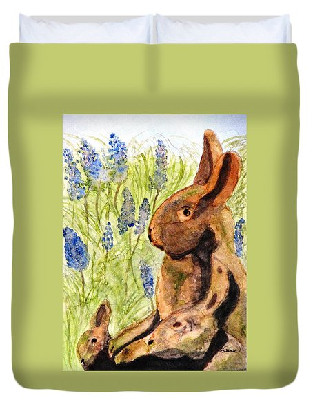 Duvet Cover featuring the painting Terra Cotta Bunny Family by Angela Davies