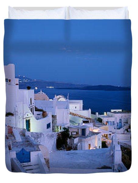 Terrace Of The Buildings, Santorini Duvet Cover