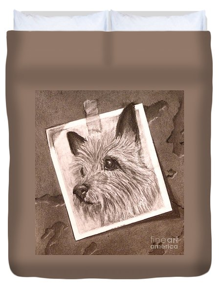 Terrier As Optical Illusion Duvet Cover