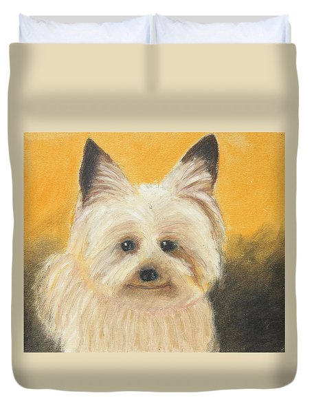 Duvet Cover featuring the painting Terrier by Jeanne Fischer