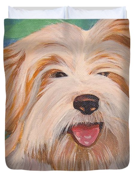 Terrier Portrait Duvet Cover by Tracey Harrington-Simpson