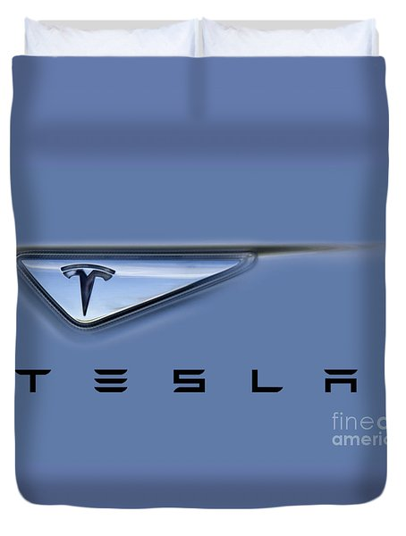 Tesla Model S Duvet Cover by David Millenheft