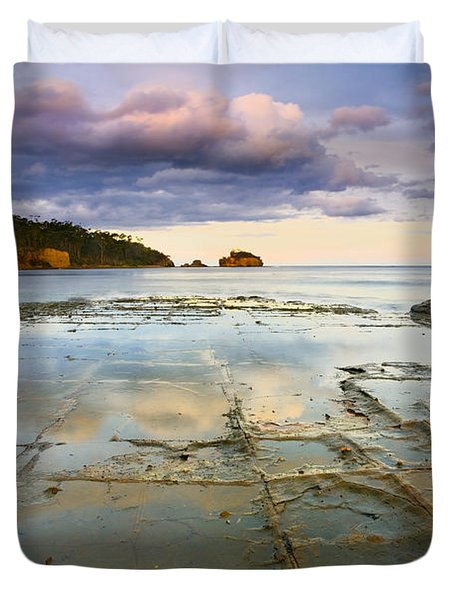 Tesselated Dusk Duvet Cover by Mike  Dawson