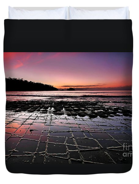 Tesselated Pavement Sunrise Duvet Cover by Bill  Robinson