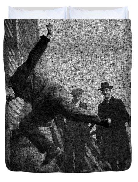 Testing Football Helmets In 1912 Ouchhhhh Duvet Cover