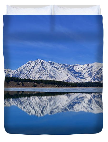 Teton End Of Winter Reflections Duvet Cover