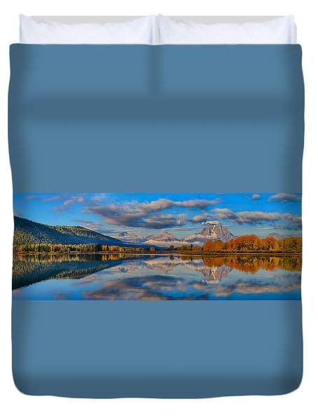 Teton Panoramic Reflections At Oxbow Bend Duvet Cover