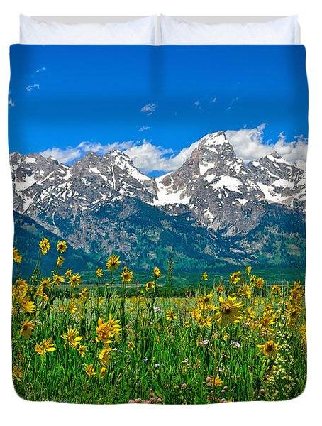Teton Peaks And Flowers Duvet Cover