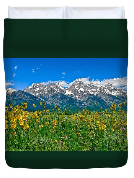 Teton Peaks And Flowers Duvet Cover by Greg Norrell