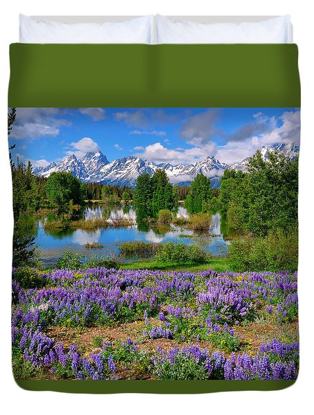 Teton Spring Lupines Duvet Cover by Greg Norrell