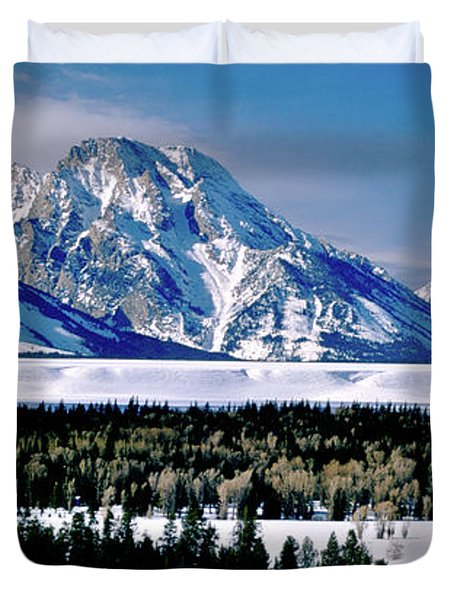 Teton Valley Winter Grand Teton National Park Duvet Cover by Ed  Riche