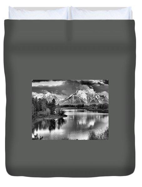 Tetons In Black And White Duvet Cover