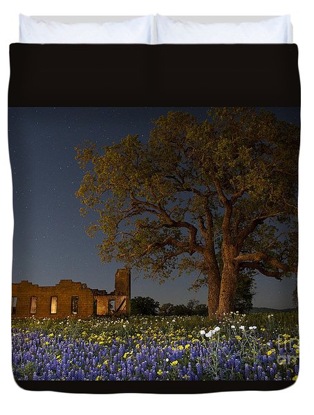 Texas Blue Bonnets At Night Duvet Cover