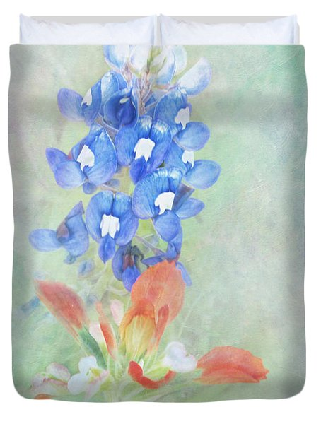 Texas Bluebonnet And Indian Paintbrush Duvet Cover by David and Carol Kelly